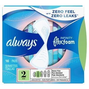 Always Infinity FlexFoam Pads for Women Size 2 Heavy Flow Absorbency, without Wings Unscented, 32 Count