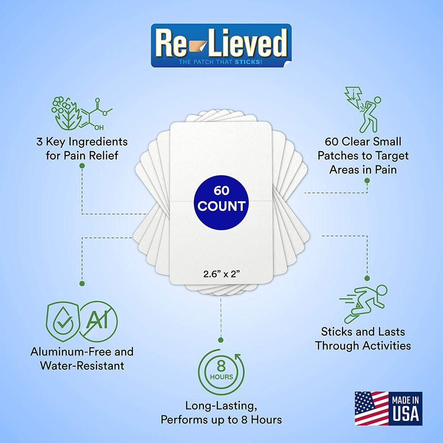 Re-Lieved 3-in-1 Pain Relief Patches, 60 ct, , large image number 1