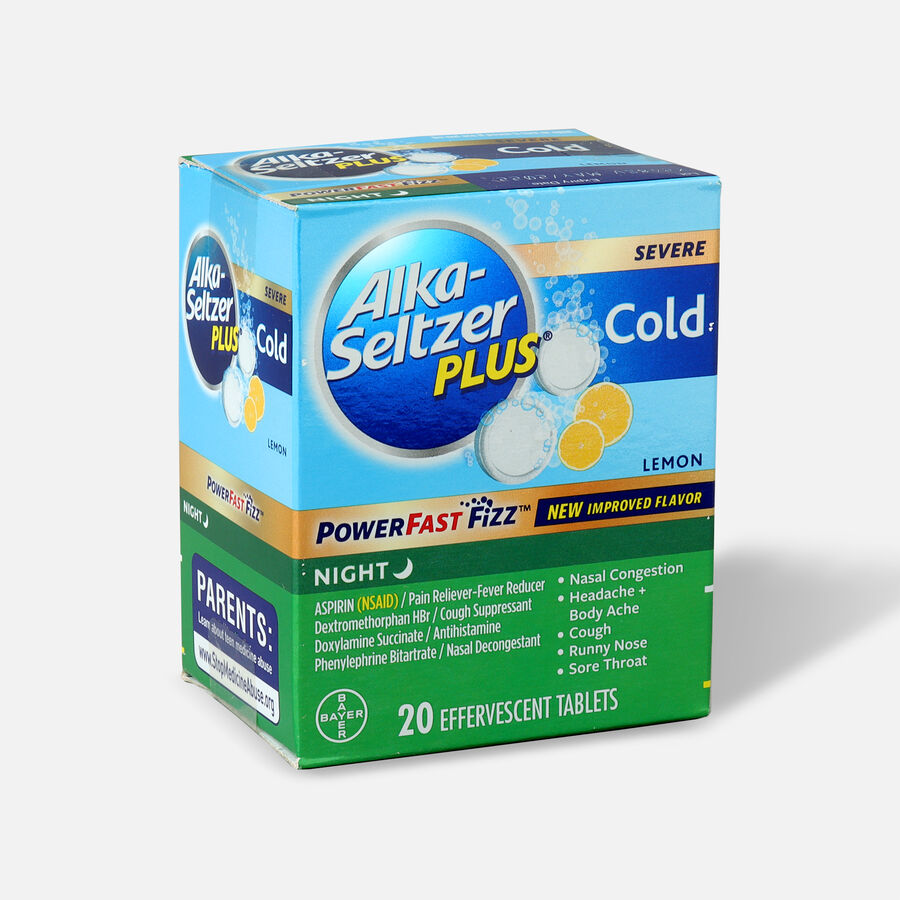 Alka-Seltzer Plus Cold PowerFast Fizz Night-time Effervescent Tablets, Lemon, 20ct, , large image number 2
