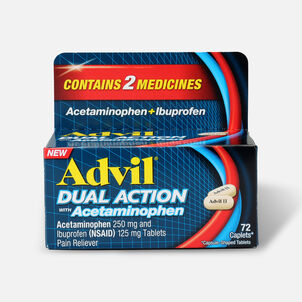 Advil Dual Action Coated Tablets, Acetaminophen + Ibuprofen, 72 ct