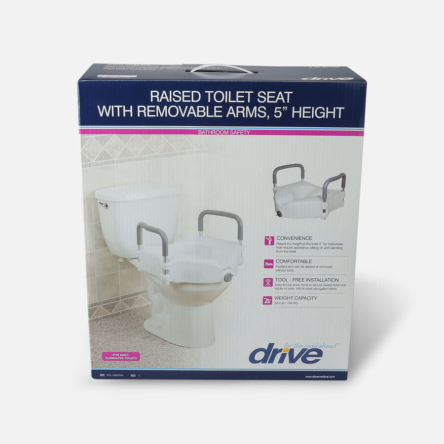 Raised Toilet Seat w/ Lock & Padded Removable Arms Retail, , large image number 0