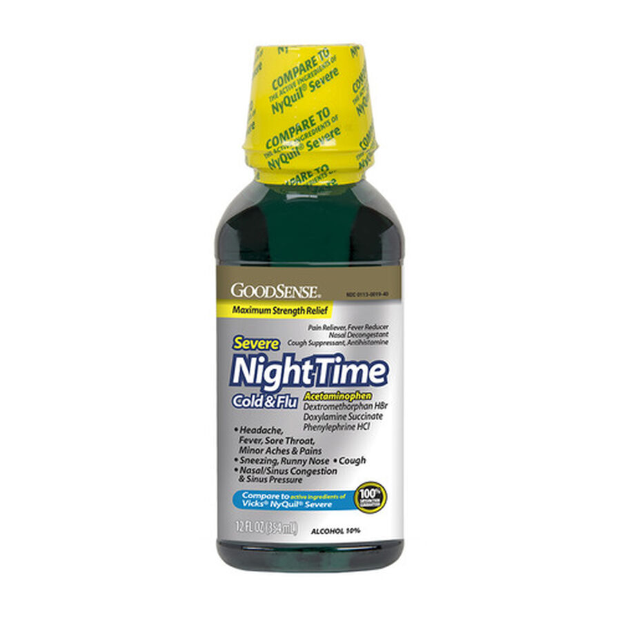 GoodSense® NightTime Severe Cold & Flu Max Strength 12 fl oz, , large image number 0