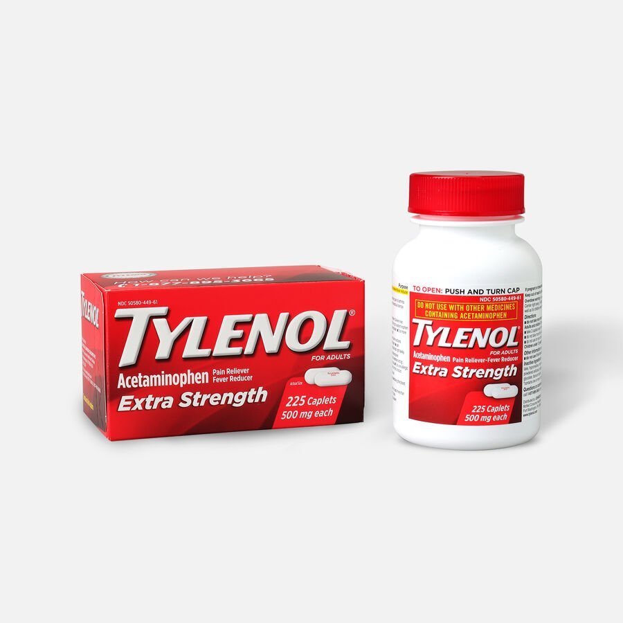 Tylenol Extra Strength Caplets, 225 ct, , large image number 3