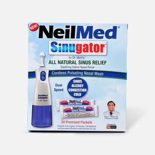 NeilMed Sinugator Cordless Pulsating Nasal Wash with 30 Premixed Packets, 1 set
