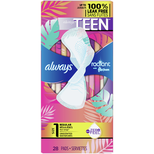 Always Radiant FlexFoam Teen Pads Regular Absorbency, with Wings, Unscented, 28 Count