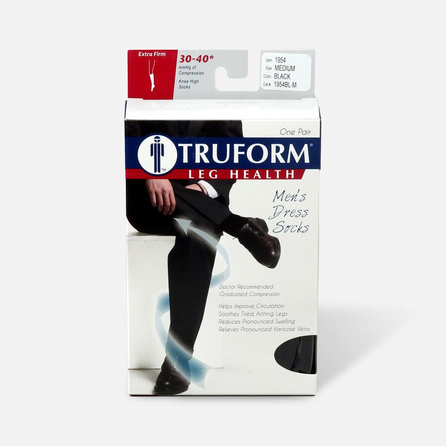 Truform Men's Dress Knee High Support Sock, 30-40 mmHg, Closed Toe, Black, , large image number 2