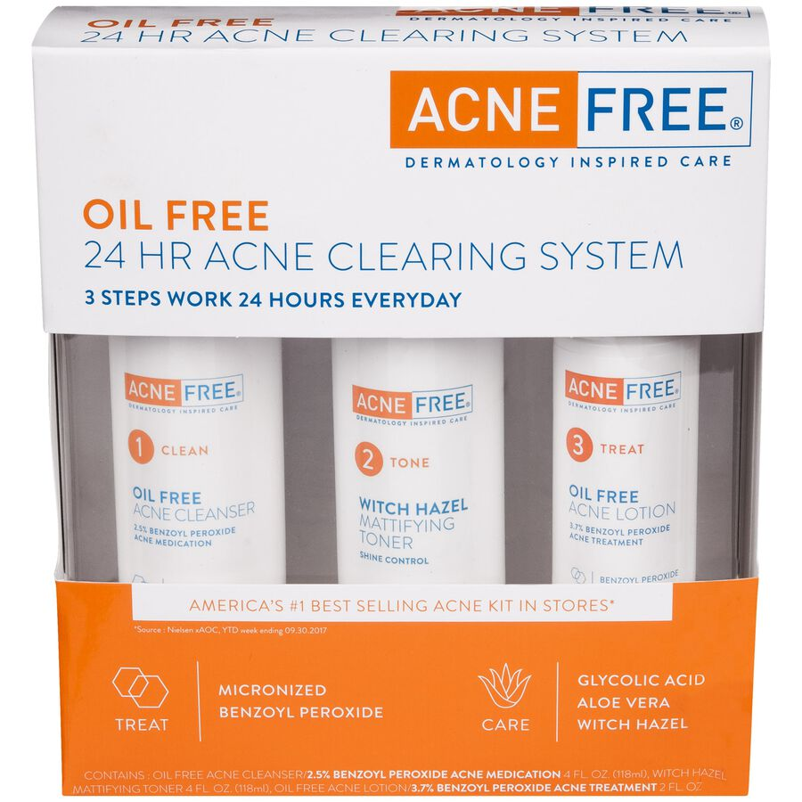 AcneFree Oil Free 24 HR Acne Clearing System, 3 Piece Kit, , large image number 0