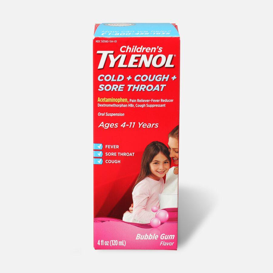Children's Tylenol Cold + Cough + Sore Throat, Bubblegum Flavor, 4 fl oz, , large image number 0