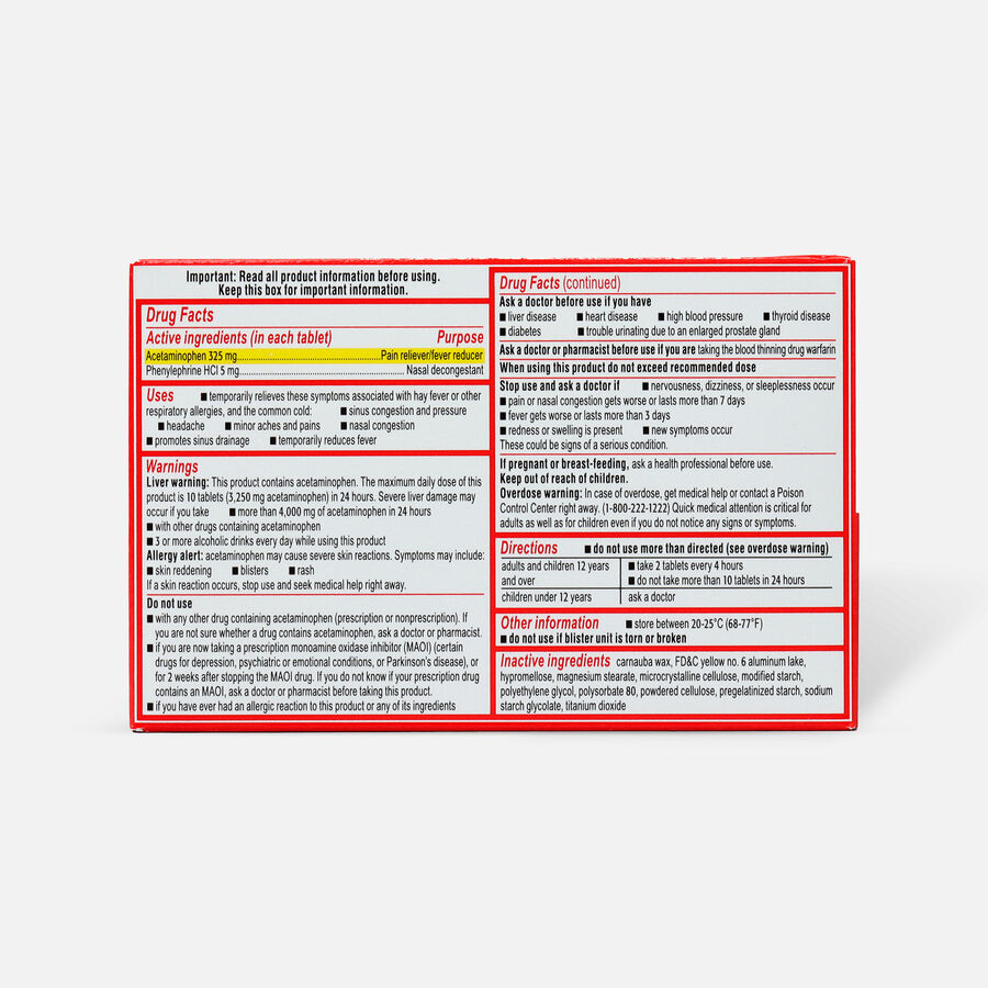 Sudafed PE Sinus Pressure + Pain Max Strength Non-Drowsy Caplets 24 ct, , large image number 1