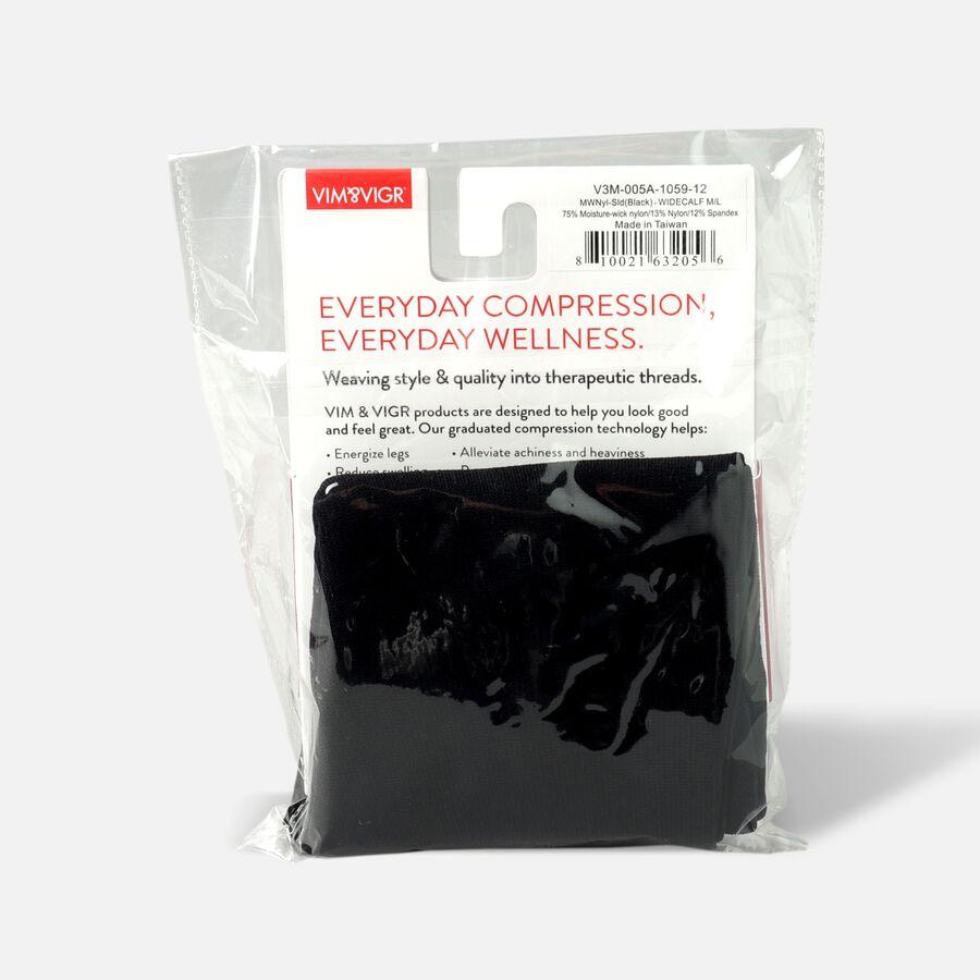 VIM & VIGR Moisture-Wick Nylon Socks, Solid Black, Wide Calf, 30-40 mmHg, , large image number 13