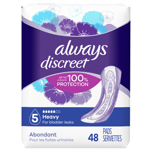 Always Discreet Heavy Incontinence Pads, 48 Count