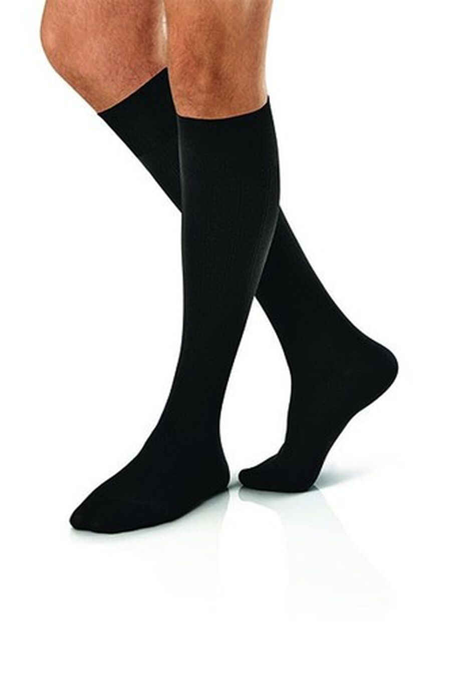BSN Jobst Men's Knee-High Ribbed Extra Firm Compression Socks, Closed Toe, Large, Black, , large image number 2