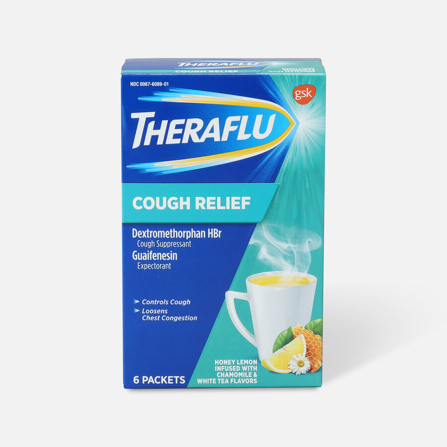 Theraflu Cough Relief Powder, Honey Lemon with Chamomile and White Tea, 6 ct, , large image number 0
