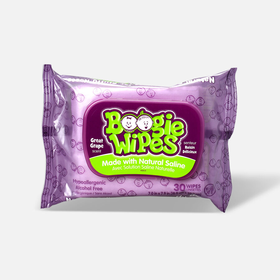 Boogie Wipes Saline Nose Wipes, Grape Scent, 30 ea, , large image number 0