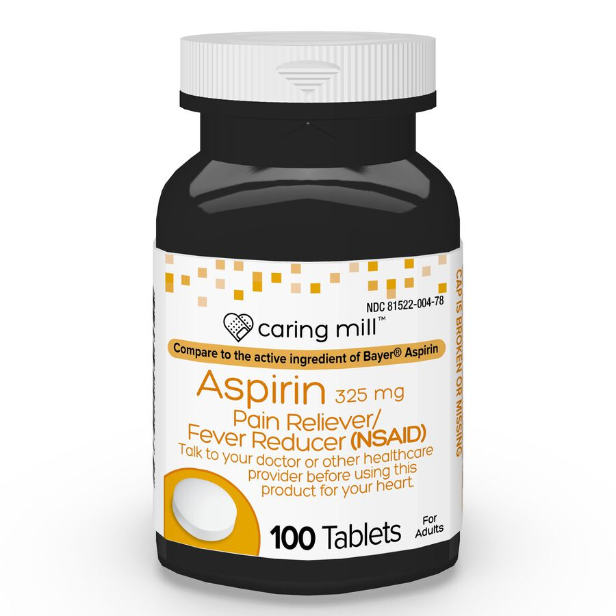 Caring Mill™ Aspirin Pain Reliever/ Fever Reducer (NSAID) Tablets, 100 ct, , large image number 0