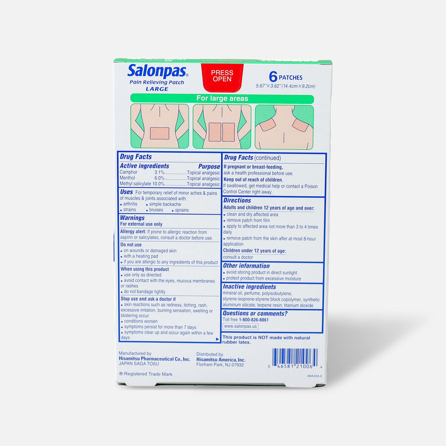 Salonpas Pain Relieving Patch, Large, 6 ct, , large image number 1