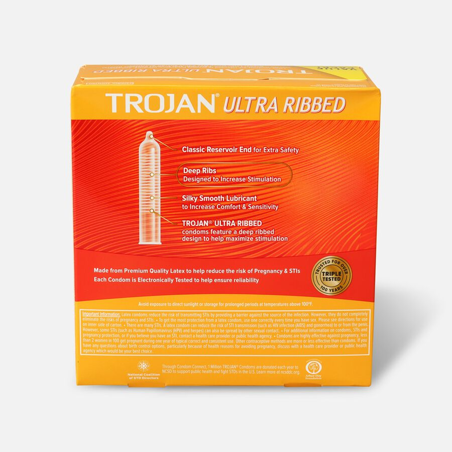 Trojan Ultra Ribbed Lubricated Latex Condoms, 36 ea, , large image number 1