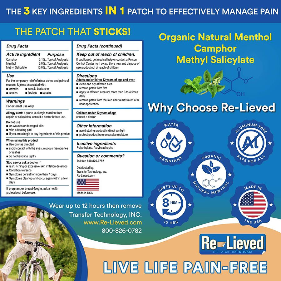 Re-Lieved 3-in-1 Pain Relief Patches, 60 ct, , large image number 2