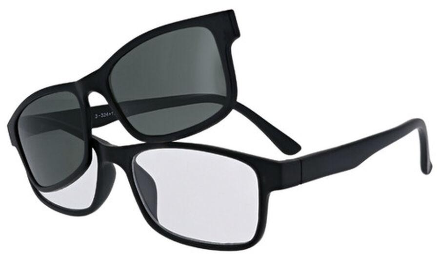 Sunglass Reader with Magnetic Detachable Polarized Lens, +2.00, Black/G15, Black, large image number 3