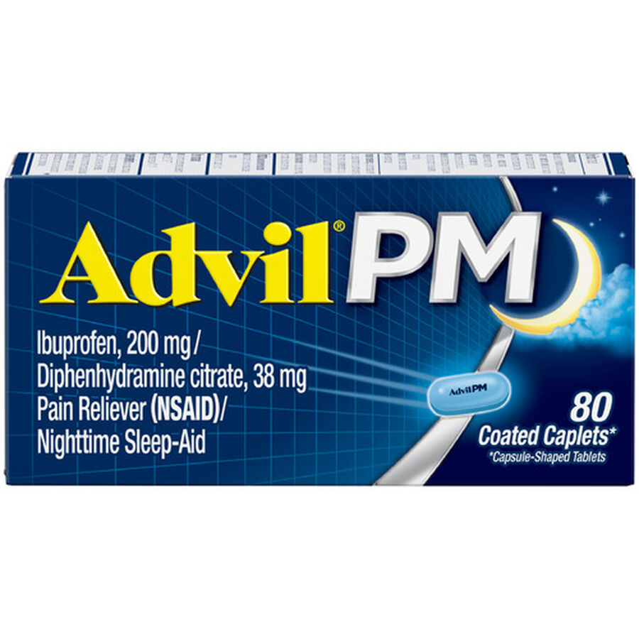 Advil Pain PM Reliever & Nighttime Sleep Aid Coated Caplets, 80 ct, , large image number 11