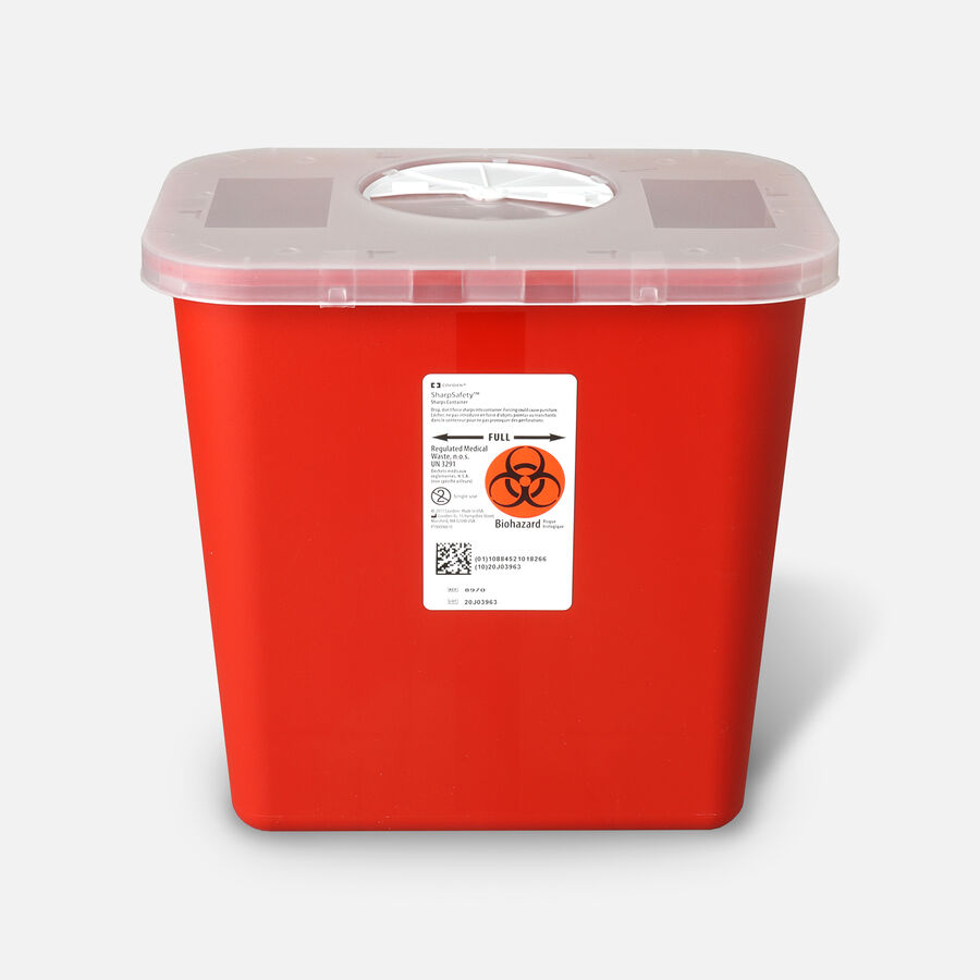 Transportable Sharps Container 2 Gallon, Transparent Red , 8970, , large image number 0