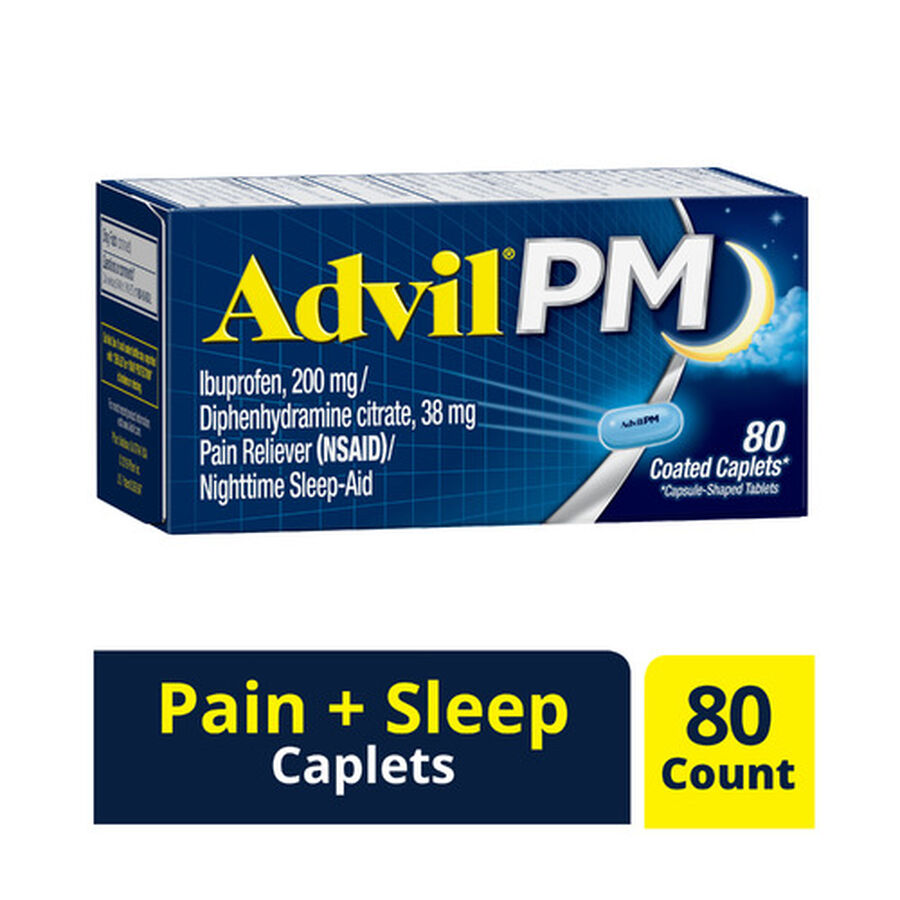 Advil Pain PM Reliever & Nighttime Sleep Aid Coated Caplets, 80 ct, , large image number 0