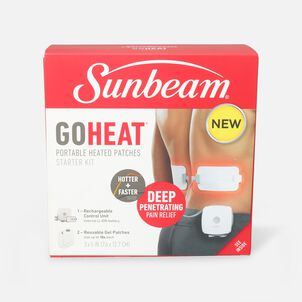 Sunbeam GoHeat Portable Heated Patches, Starter Kit, White, 3 Heat Settings