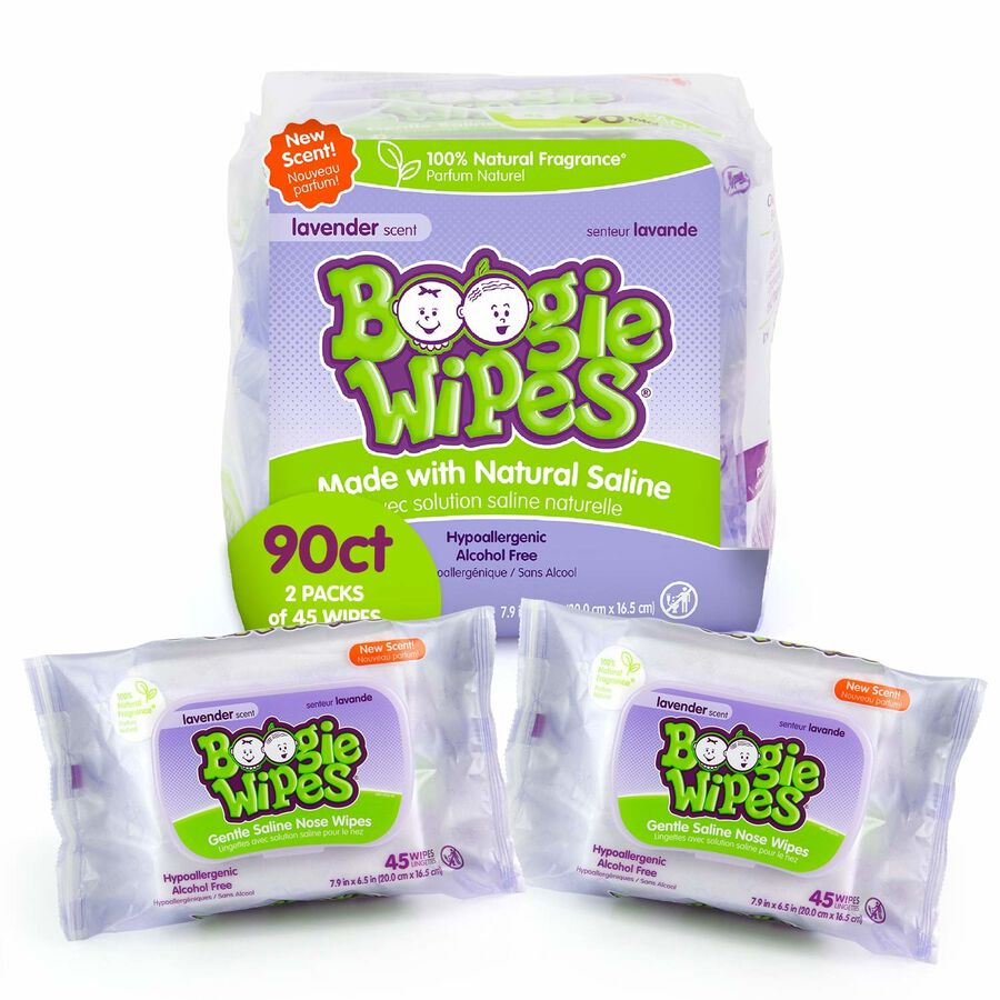 Boogie Wipes Lavender, Dual Pack, 2/45 ct, , large image number 0