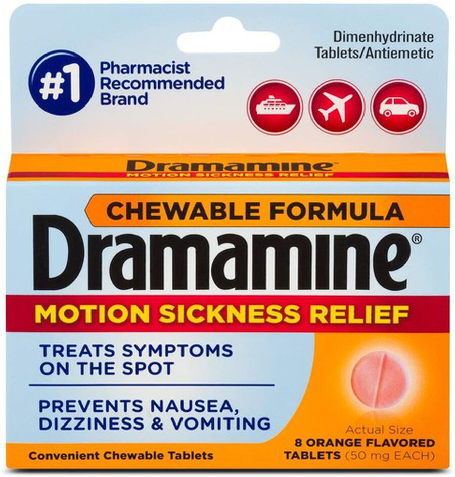 Dramamine Motion Sickness Relief Chewable Tablets, Orange Flavor, 8 ct, , large image number 0
