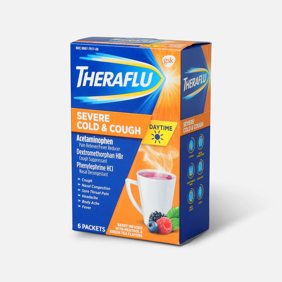 Theraflu Day Time Severe Cold & Cough, Berry Infused with Menthol and Green Tea, 6 ct, , large image number 2