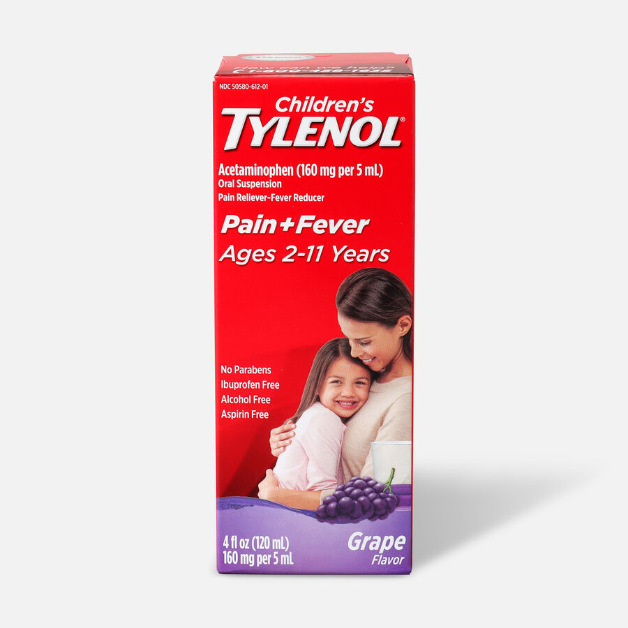 Children's Tylenol Fever Reducer & Pain Reliever, Ages 2-11, Grape Splash, 4 fl oz, , large image number 0