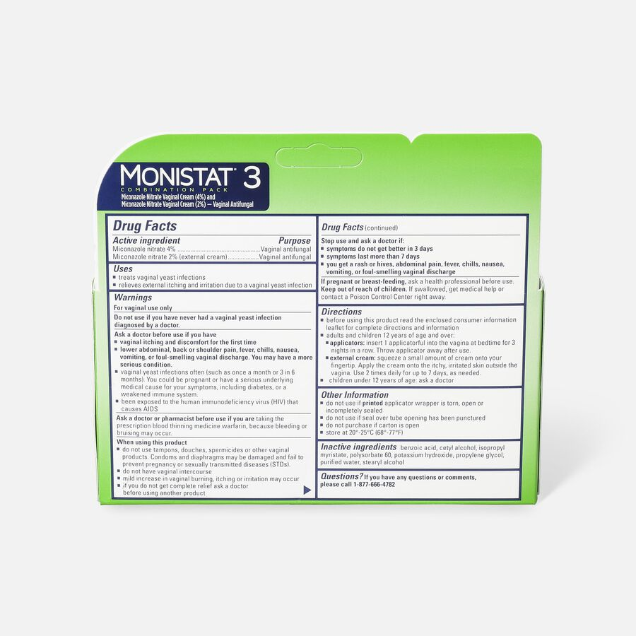 Monistat 3, Cure and Itch Relief, Prefilled Cream, , large image number 1
