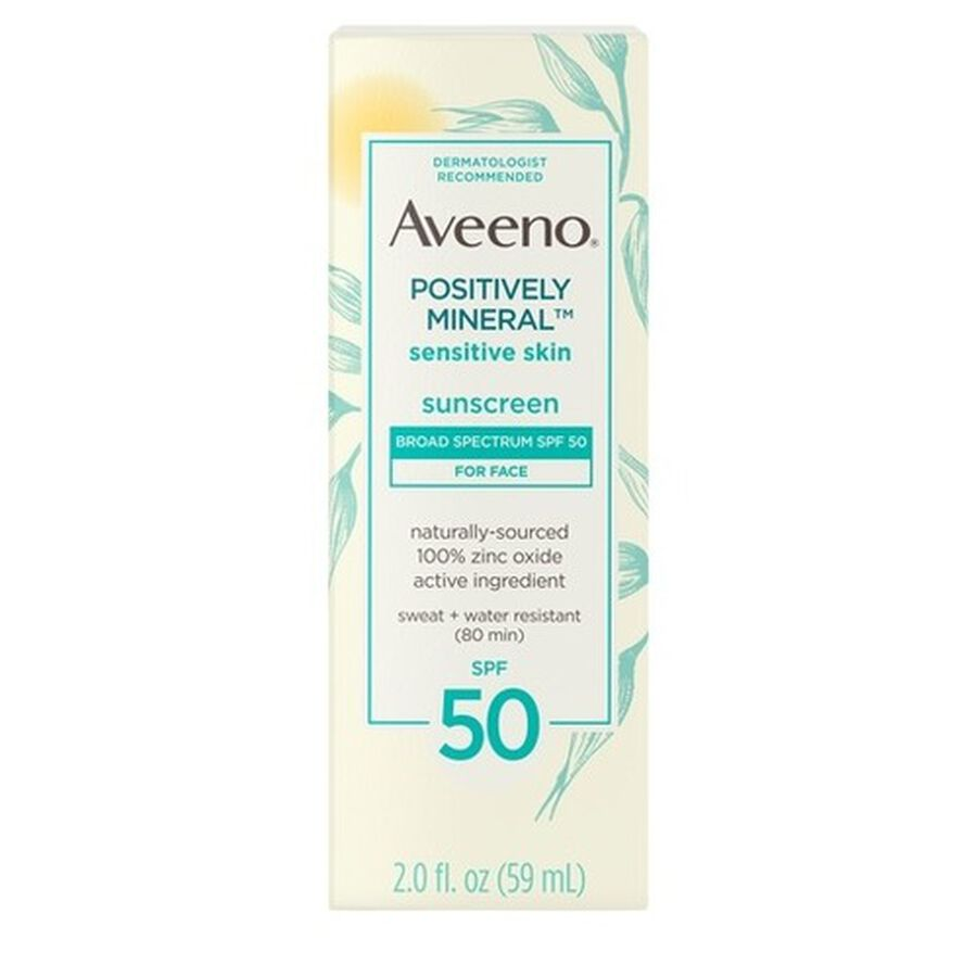 Aveeno Positively Mineral Sensitive Face Lotion Sunscreen SPF 50, 2 fl. oz, , large image number 0