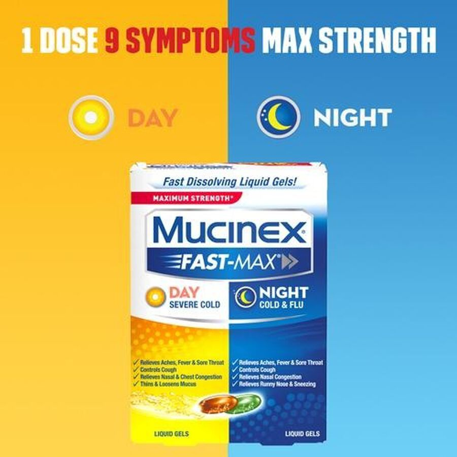 Mucinex Fast-Max Liquid Gels Day Night Cold and Flu 24 ct, , large image number 3