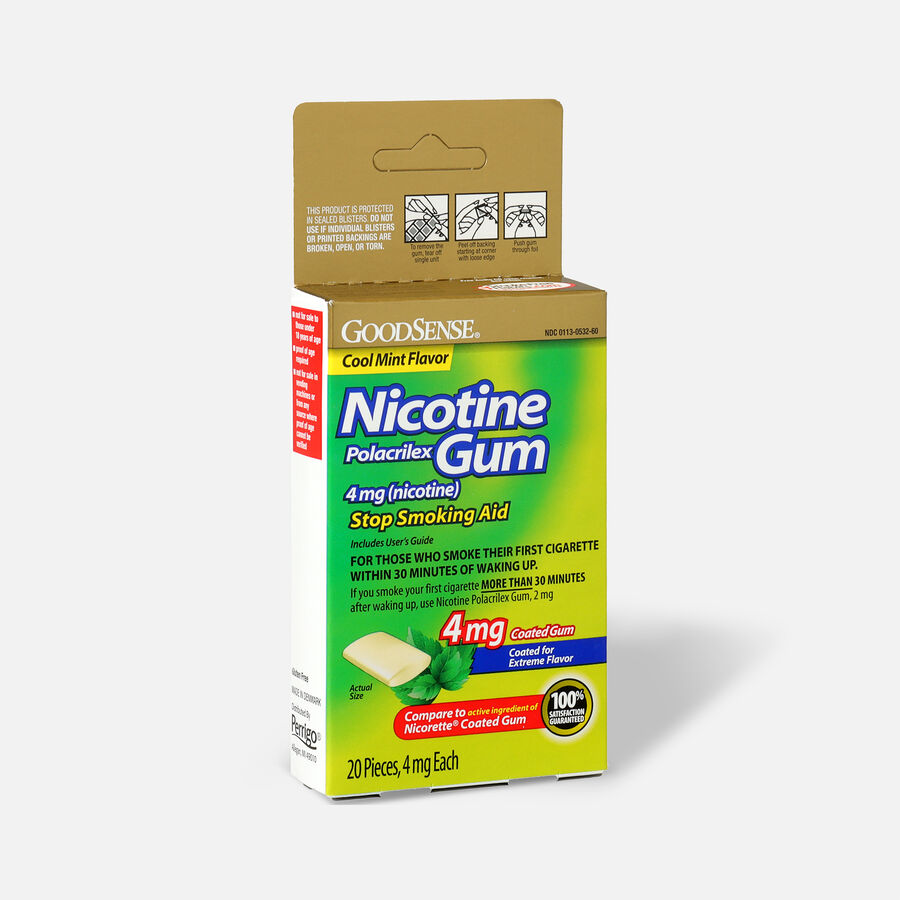 GoodSense® Nicotine Polacrilex Gum 4 mg (nicotine), Mint, Coated, 20 ct, , large image number 2