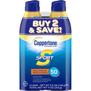 Coppertone Sport Sunscreen Spray SPF 50, Twin Pack, 5.5 oz each