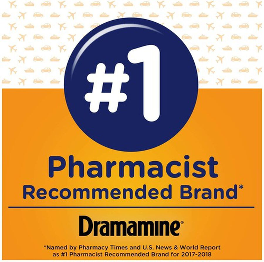 Dramamine Motion Sickness Relief Chewable Tablets, Orange Flavor, 8 ct, , large image number 3