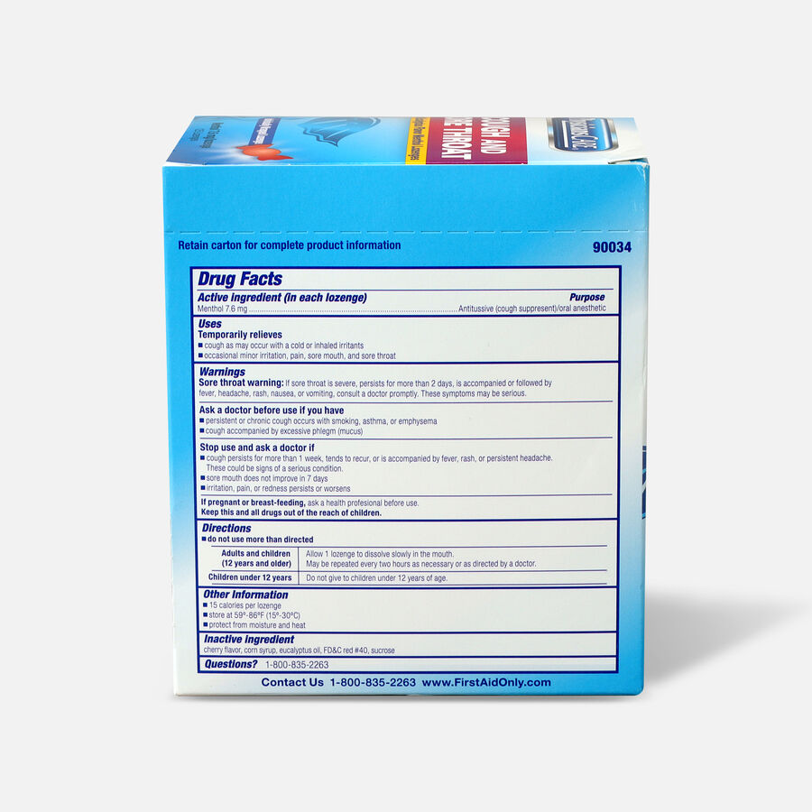 PhysiciansCare Cherry Flavor Cough and Throat Lozenges, 125/Box, , large image number 1