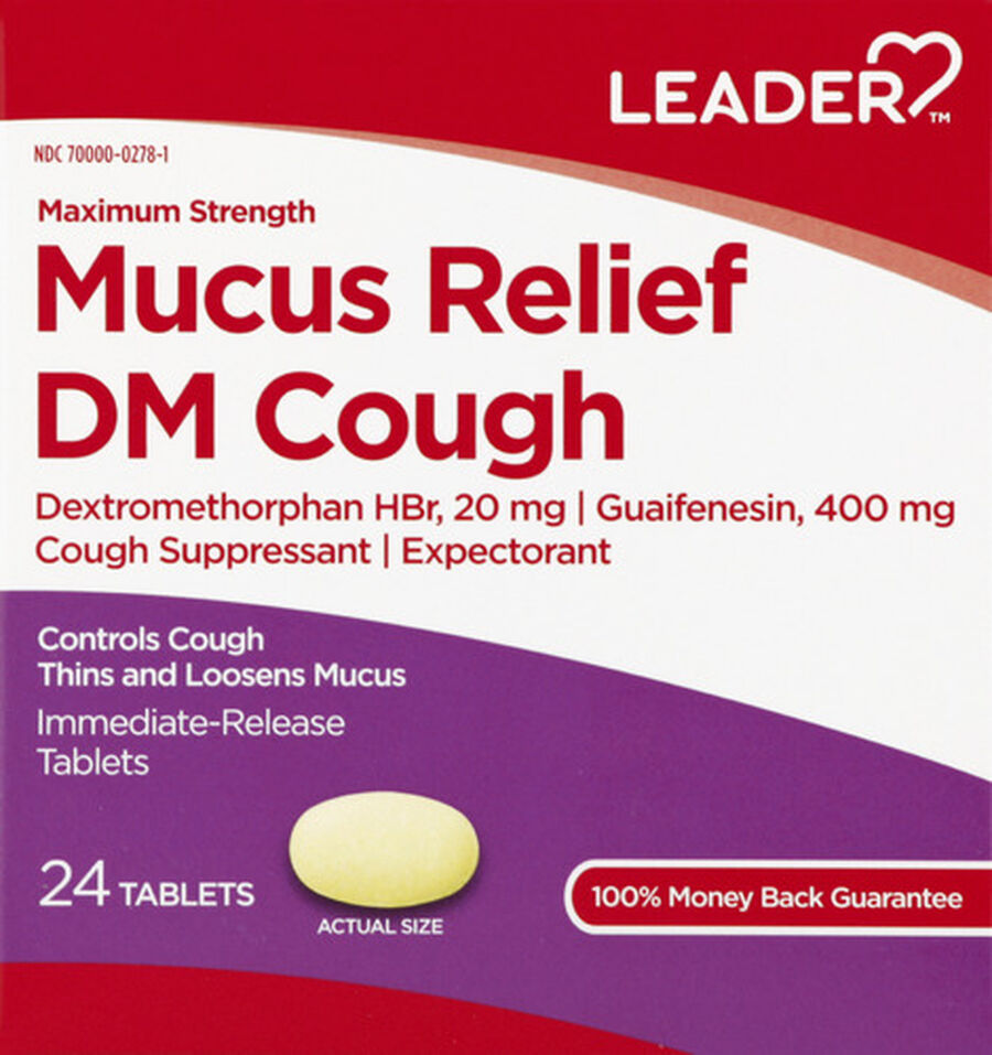 LEADER™ Mucus Relief DM Cough Maximum Strength Tablets 24 ct, , large image number 0