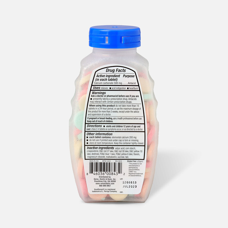 GoodSense® Regular Strength Calcium Antacid Chewable Tablets, Asst Fruit, 150 ct, , large image number 1