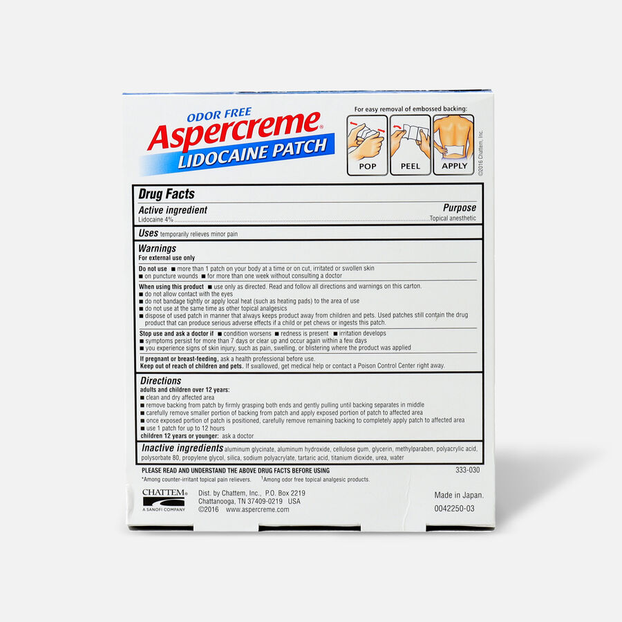 Aspercreme with 4% Lidocaine Patch, 5 ct., , large image number 1
