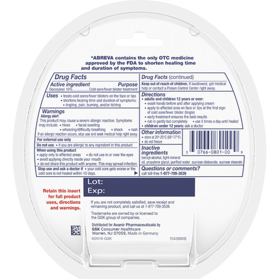 Abreva, Docosanol 10% Cream Tube, Treatment for Cold Sore/Fever Blister, 2g, , large image number 7