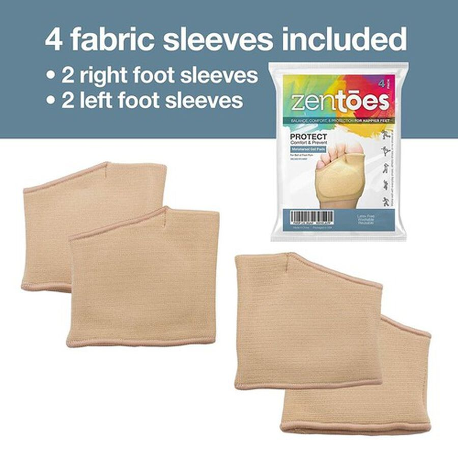 ZenToes Fabric Metatarsal Sleeve with Sole Cushion Gel Pads - 4 Pack, , large image number 6