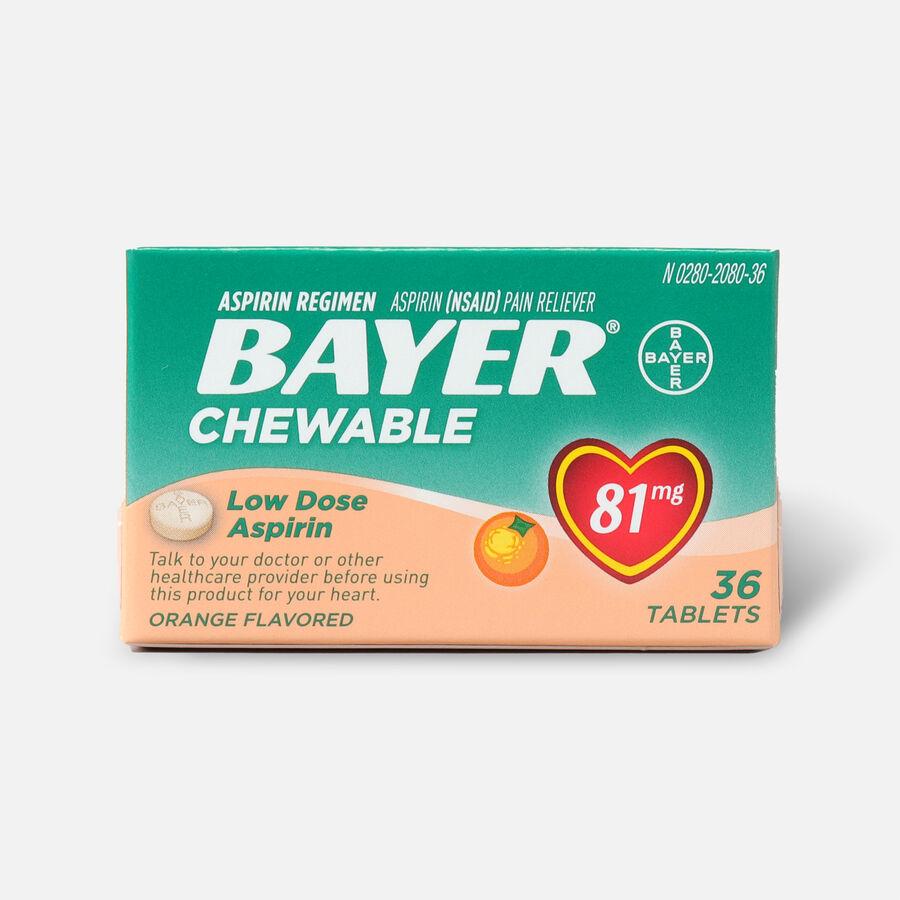 Bayer Low Dose 'Baby' Aspirin, 81mg Chewable Orange, 36 ea, , large image number 0