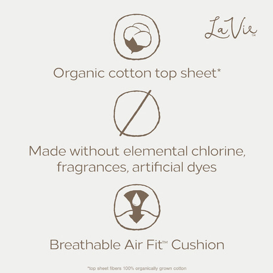 La Vie Organic Cotton Top Sheet Ultra-Thin Pads with Wings, Regular, 16ct, , large image number 4
