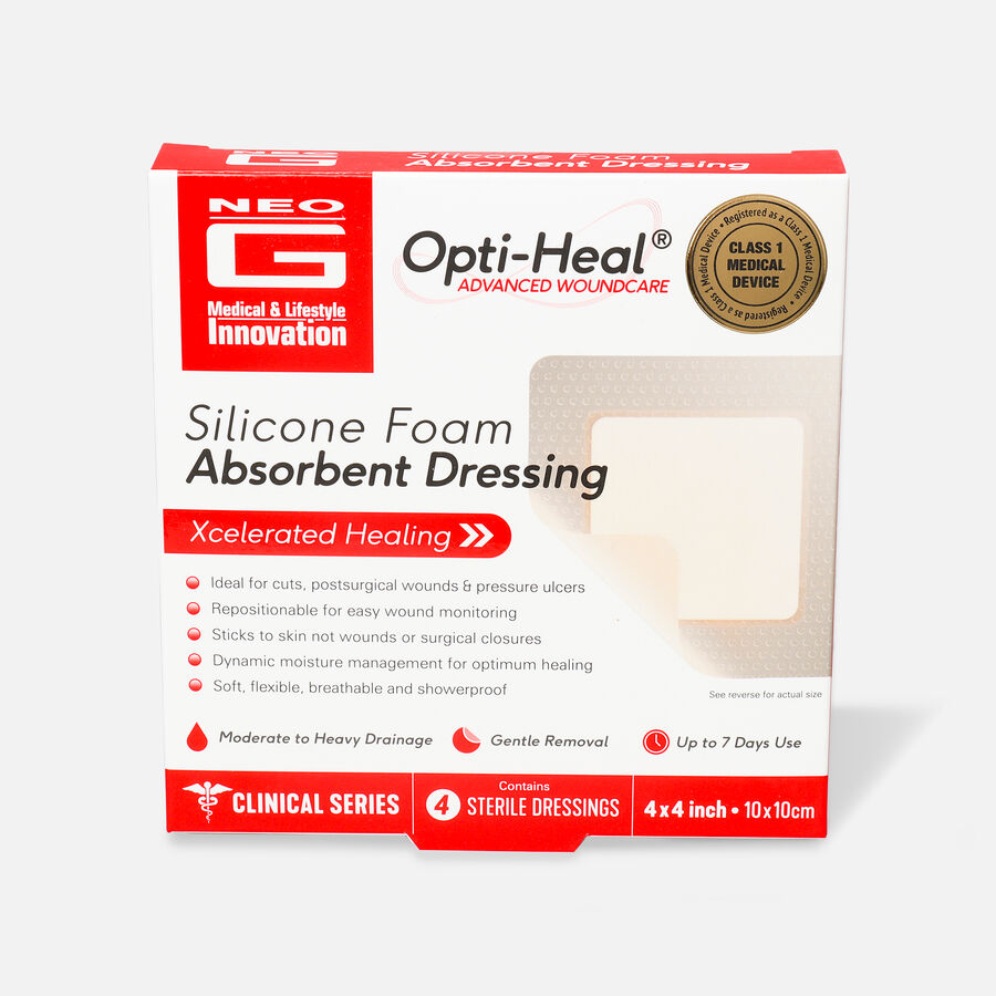 Neo G Silicone Foam Absorbent Dressing, 4 x 4, , large image number 0