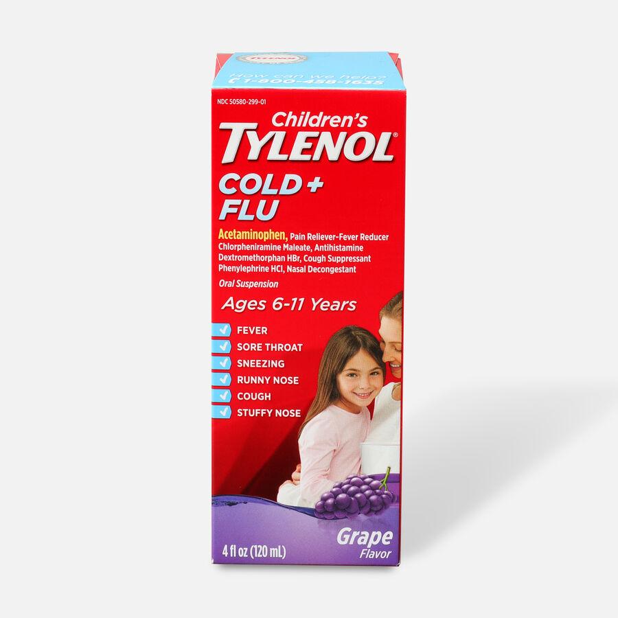 Children's Tylenol Cold + Flu, Grape Flavor, 4 fl oz, , large image number 0