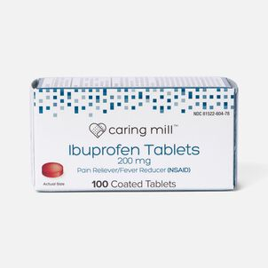 Caring Mill™ Ibuprofen Pain Reliever/ Fever Reducer (NSAID) Brown Coated Tablets, 100 ct