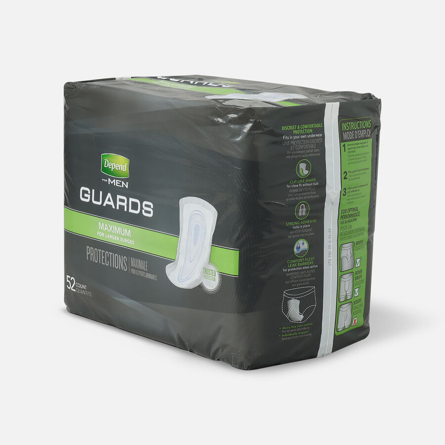 Depend Incontinence Guards for Men, Maximum Absorbency, 52 ea, , large image number 2