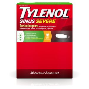 Tylenol Sinus Severe Non-Drowsy Daytime Caplets, 50 Packs of 2 ct